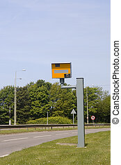 Speed trap camera, UK - Speed restrictions, signs and camera...