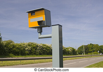 Road and speed camera - Landscape photo of road and yellow...