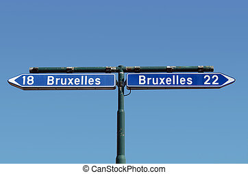 Ambiguous road-sign - Ambiguous road sign in Belgium Concept...