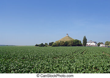 Waterloo battle memorial. - The famous memorial hill on the...