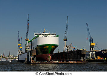 Ship - Container ship in Hamburg, germany.