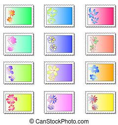Floral stamps - Twelve floral stamps