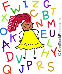 alphabet Girl - little girl surrounded by letters of the...