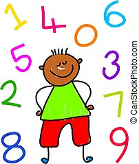 number kid - little ethnic boy surrounded by numbers -...