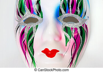 White mask - Nice decorative white face mask with colorful...