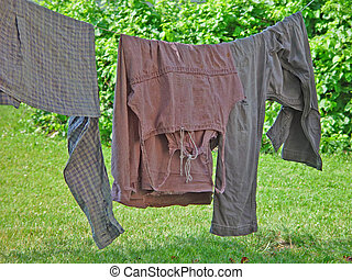Laundry on clothesline from historical reenactment