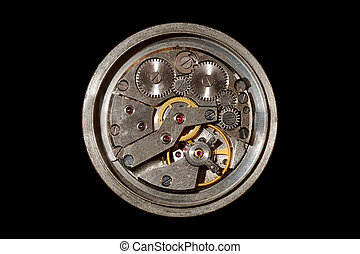 Mechanical clock - Back side of watch clockwork mechanism...