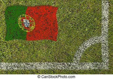 Football Flag - Flag of Portugal painted on football pitch