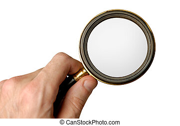 Magnifying glass - Big magnifying glass in hand isolated on...