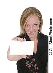 Woman Holding Blank Card 2 - Attractive smiling business...
