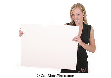 Woman Holding Blank Sign - Attractive smiling business woman...