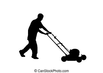 Silhouette of Teenager Mowing Lawn w/clipping path -...