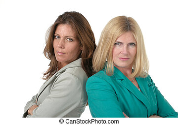 Two Business Women Back to Back 1 - Attractive and beautiful...
