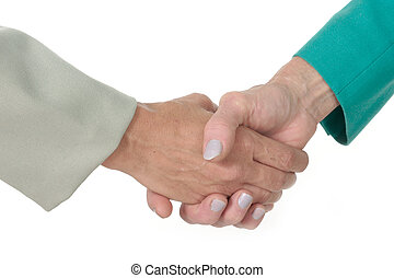 Business Women Handshake 2 - Closeup of two business women...