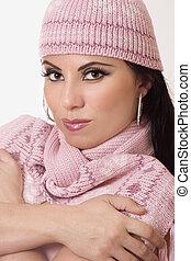 Female wearing winter knitwear