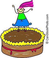 cake kid - little girl standing on her chocolate birthday...