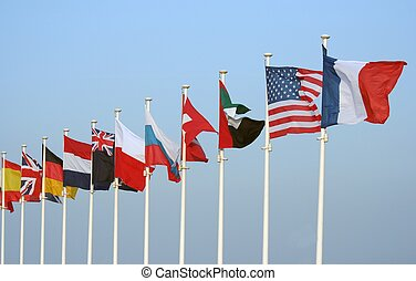Flags - Multiple flags on poles