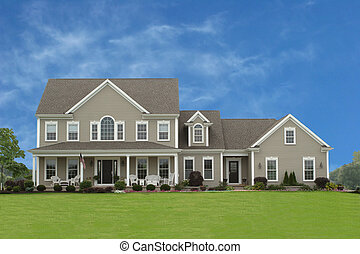 New House with porch - Photo of a large home with a nice...
