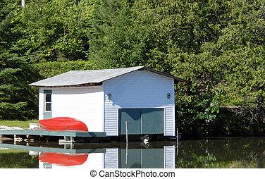 Boathouse - boathouse on a lake