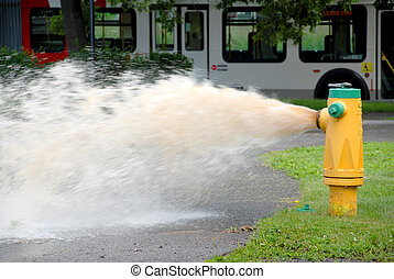 Fire Hydrant - openned fire hydrant with sewage water