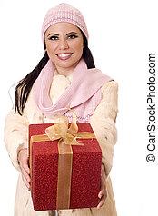 aufgewickelt, weibliche, Besitz, Geschenk
