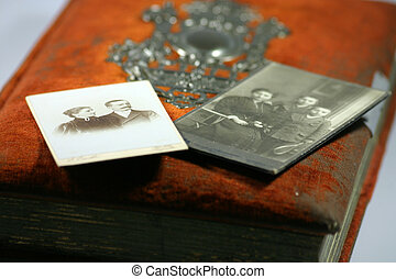 Photo album - Very old family photos with an album