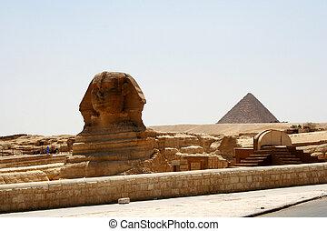 sfinx, &, pyramid