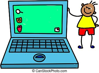 laptop kid - little ethnic boy standing next to giant laptop...