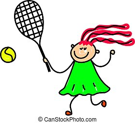 tennis kid - little girl playing tennis - toddler art series