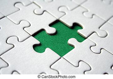 Green jigsaw element - Green empty jigsaw element