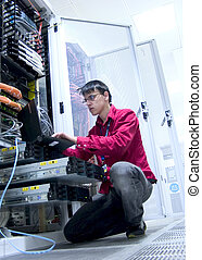 Engineer at Work - Configuring Network Equipment