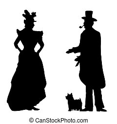 Vintage people illustration - Gentleman with a dog welcomes...