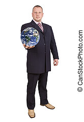 World ruler - Successful man with globe on his hand....