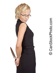 hide a kitchen knife - Businesswoman going to trap someone....