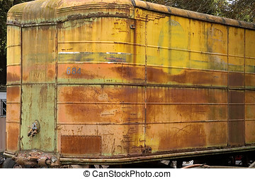tractor trailer - old weather trucking trailer,rusty...
