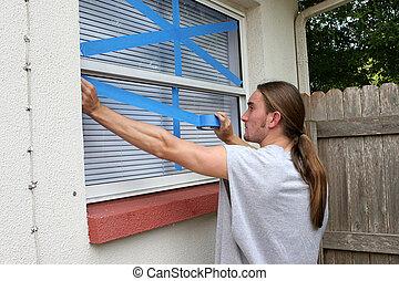 adolescente, gravando, janelas, H