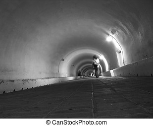 Underground Tunnel View - -- used by pedestrians and...