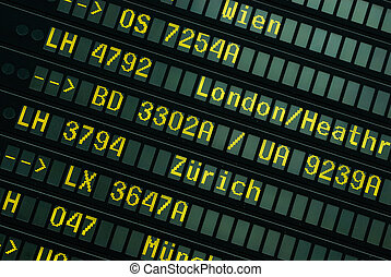 Flight schedule at the airport in Hamburg, germany