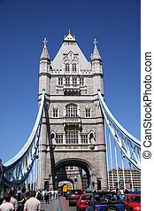Tower Bridge, end on, London UK