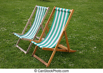Deck chairs in park