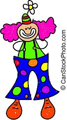 clown kid - little kid dressed up as a clown - toddler art...