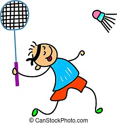 badminton kid - little boy playing badminton - toddler art...