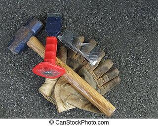 hammer chisel,gloves - work tools sledge hammer ,chisel...