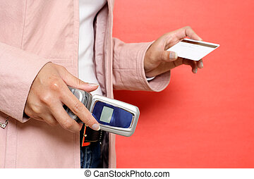 Shopping - A woman calling credit card company before...