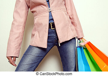 Going shopping - A woman carrying shopping bags