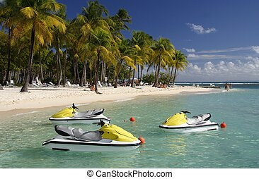 Caribbean Watersport - Beautiful caribbean lagoon with three...