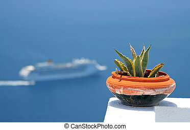 Pot and Cruise - View of a cruise at Santorini Island,...