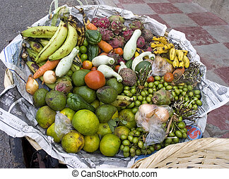 fruit and veg -   a big basket of food