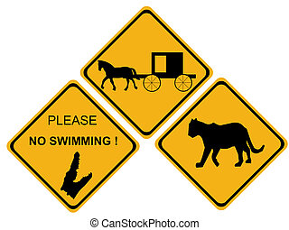alligator hazard sign - hazard sign puma alligator horse...