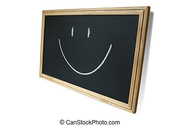 happy school - isolated blackboard with smile signwith...